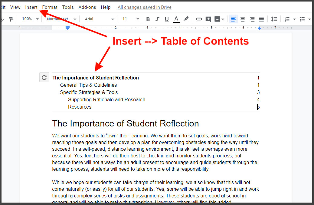 Google Docs outline and Table of Contents