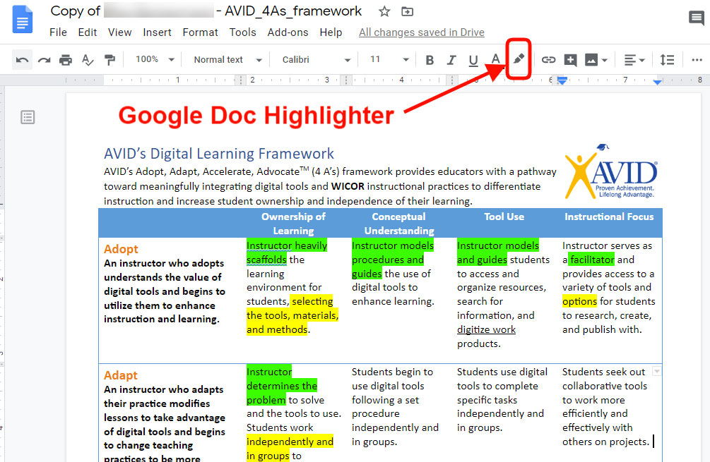 Marking text in Google Docs