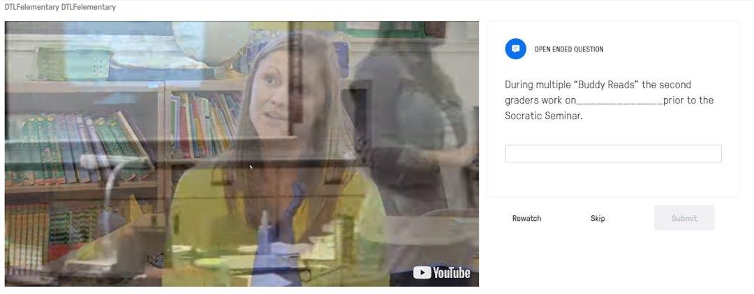 Screenshot of interactive video quiz tool