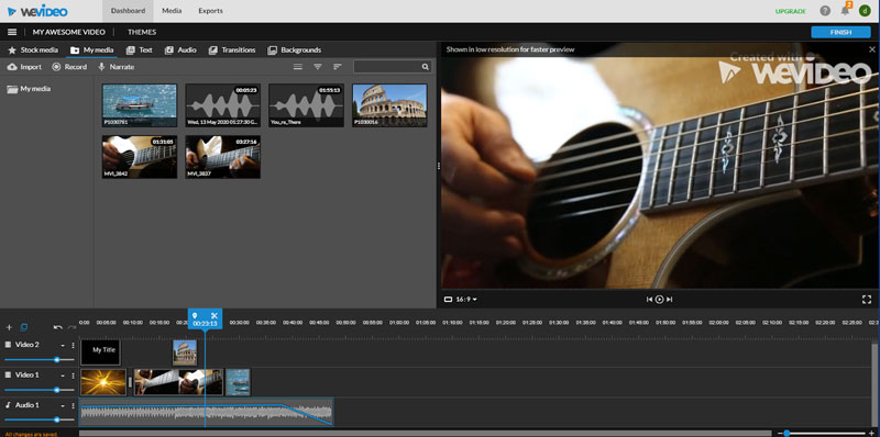 Sample of WeVideo editing software for online learning