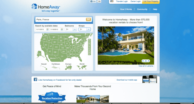 From the homeaway.com homepage, plug in your destination, dates and number of people in your travel party.