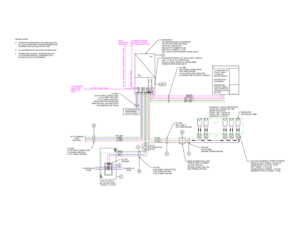 three line drawing for battery plus solar pv system