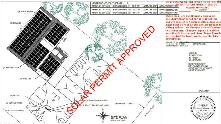 approved solar permit stamped
