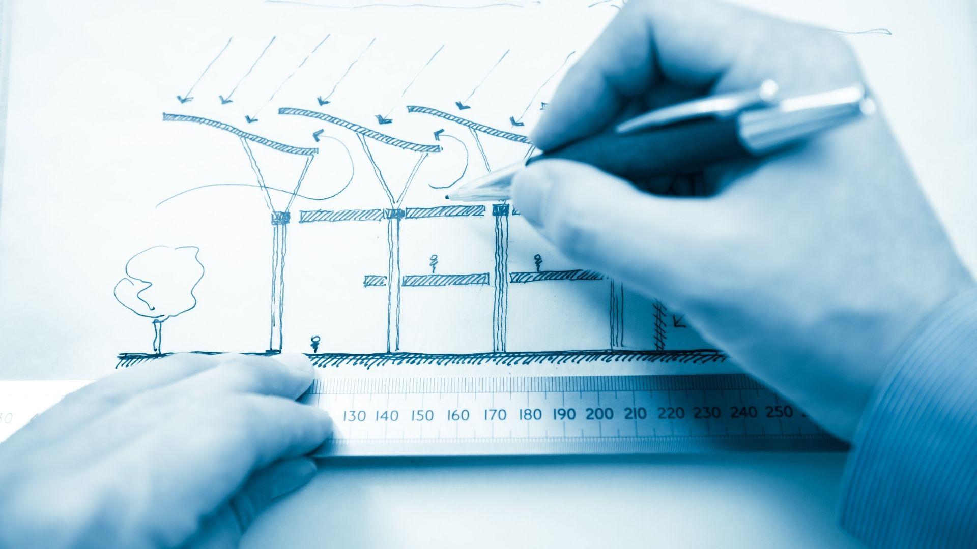custom drawing of solar engineering design hands