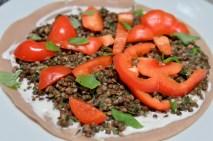 La Veganista: buckwheat pancakes with lentil-aioli-filling