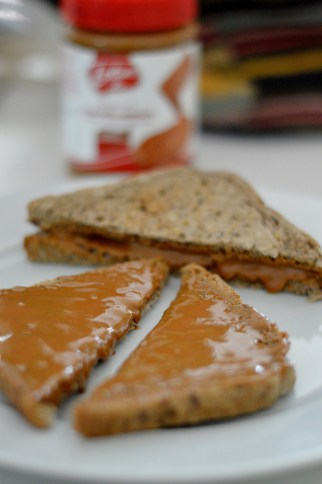 "toast with ""Lotus"" almond biscuit spread"