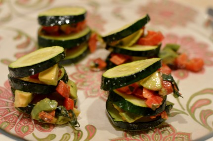 Zucchini with avocado capsicum filling
