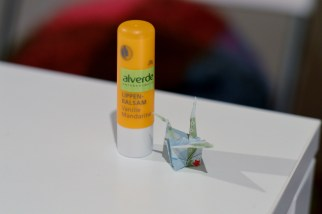 Alverde Lipbalm and paper crane - Vegan Secret Santa advent calendar