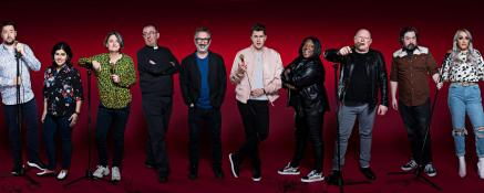 The cast of Stand-up and Deliver for Stand Up to Cancer