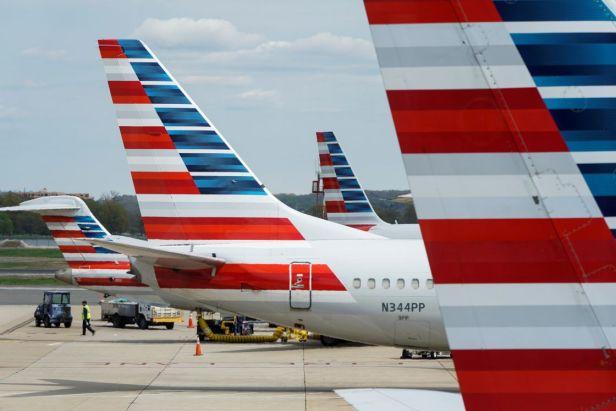 Colas de aviones de American Airlines