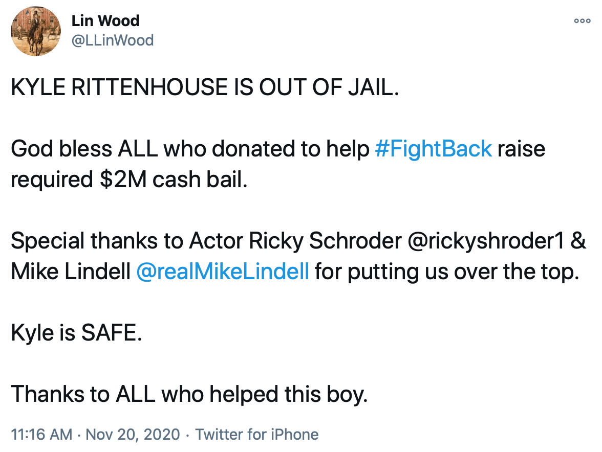 KYLE RITTENHOUSE IS OUT OF JAIL!