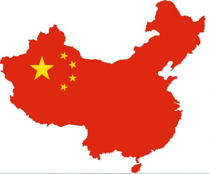 Map of China in red