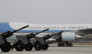 President Trump Receives 21-Gun Salute at Andrews Air Force Base before flying to Mar-a-Lago aboard AF1