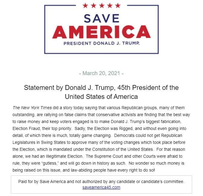 Statement by President Trump on March 20, 2021