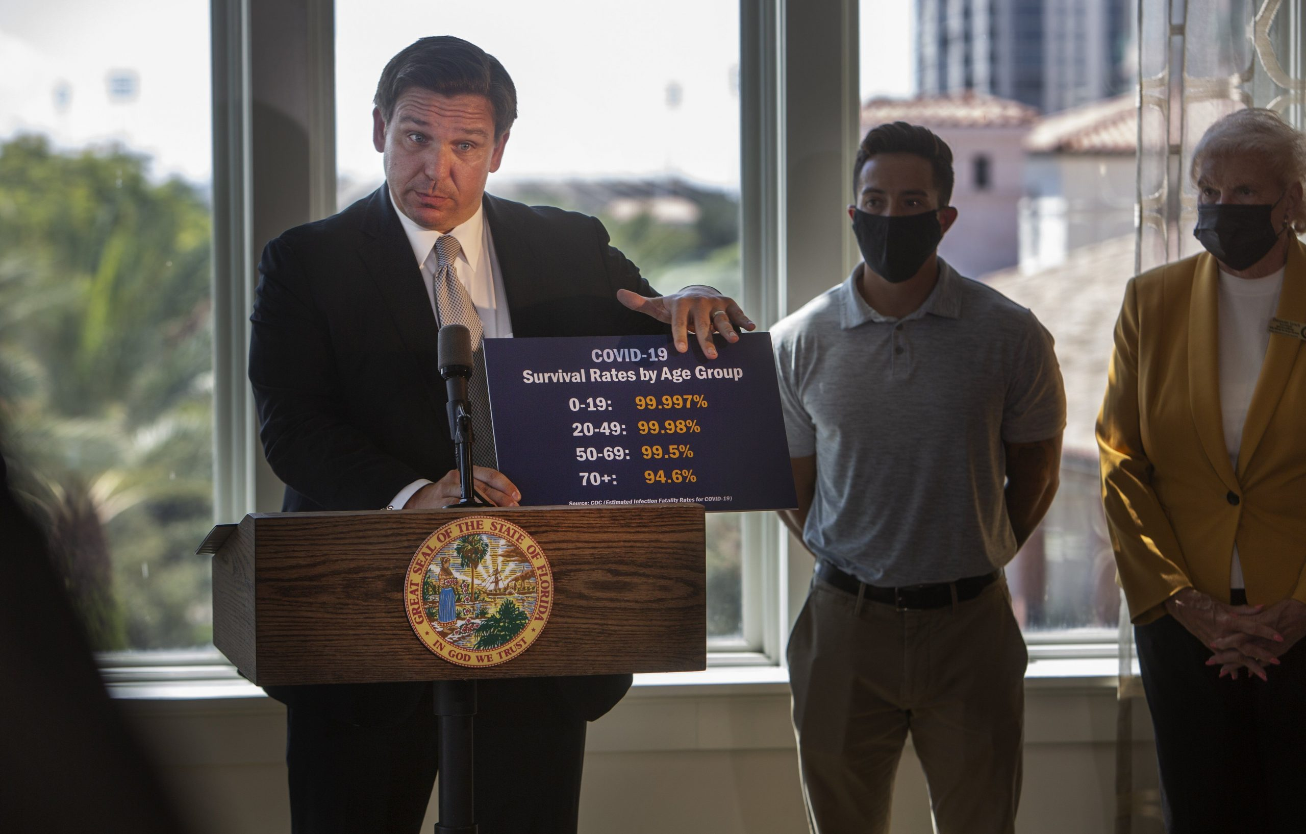 Ron DeSantis holding sign showing COVID survival rates by age group