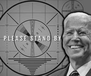 Graphic showing Biden and Please Stand By TV sign