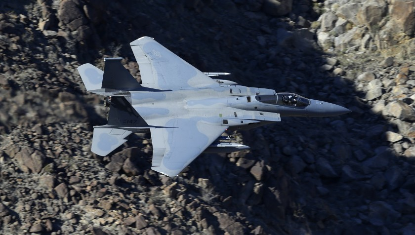 F-15 flying over California
