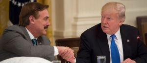 MyPillow CEO Mike Lindell shaking hands with President Trump