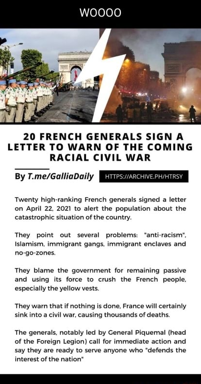 20 French Generals Sign A Letter Warming of the Coming Racial Civil War