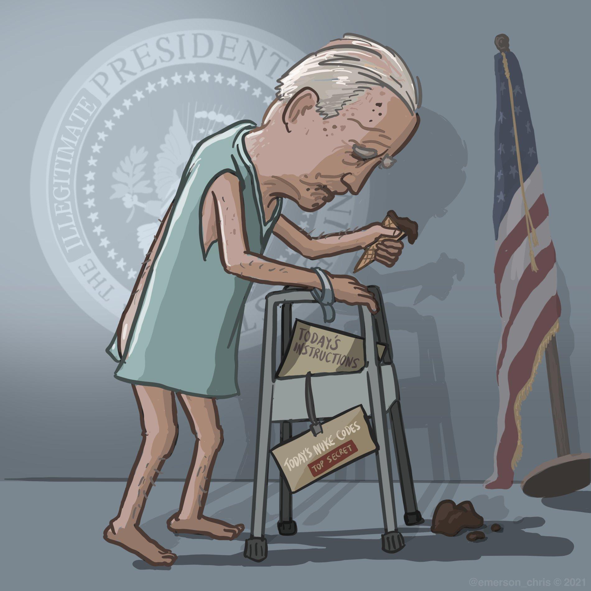 Cartoon of Joe Biden as sleepy, old man in a hospital gown pushing a walker