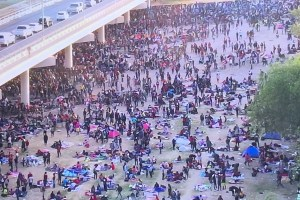 Illegal Immigrants at and under the International Bridge in Texas