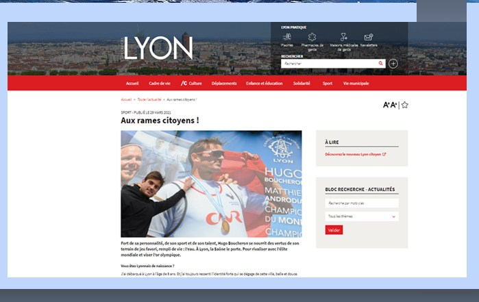 Article de Presse Ville de Lyon Cercle Aviron Lyon Hugo Boucheron