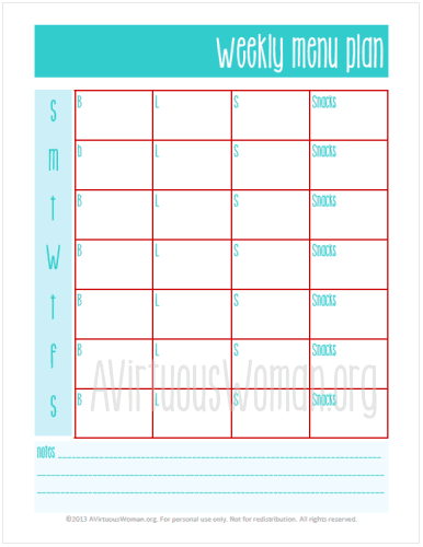 "Menu Planner from ""This is My Life"" Planners @ AVirtuousWoman.org #planners #proverbs31 #moms"