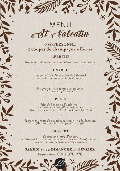 menu saint valentin 2021 restaurant bocage la reunion sainte suzanne 974