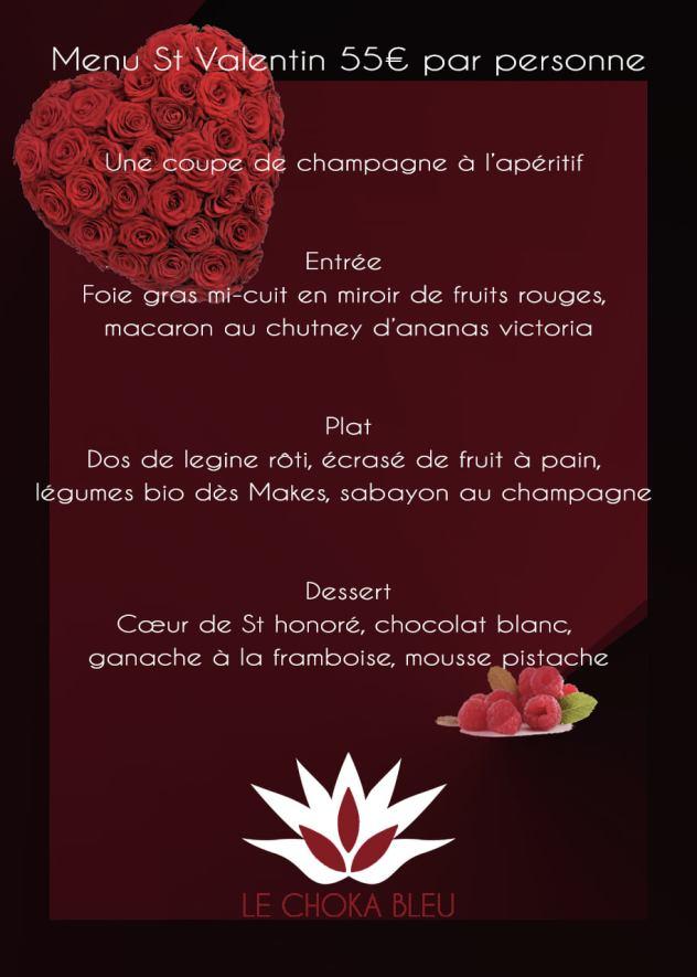 menu saint valentin choka bleu restaurant la saline