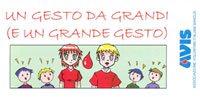 """Immagine della copertina di """"Un gesto da grandi (e un grande gesto)"""": Opuscolo divulgativo sul dono del sangue realizzato dall'Avis provinciale di Modena"""