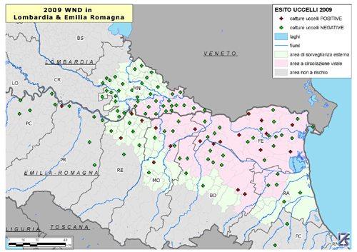 Mappa della diffusione del West Nile Virus