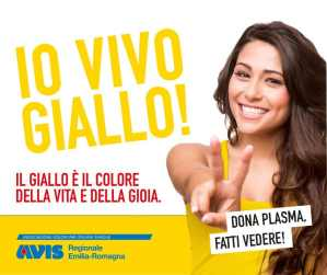 Io vivo giallo! campagna per la donazione di plasma e sangue in Emilia-Romagna