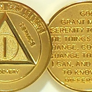 Alcoholics Anonymous Gold Plated Medallion