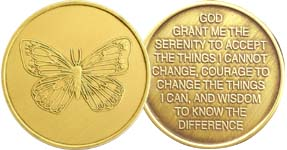 Butterfly with Serenity Prayer Bronze Medallion
