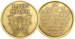 Let Go Let God Butterfly Bronze Medallion