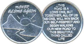 Never Alone Again Aluminum Medallion