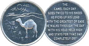 One Day At A Time Camel Prayer  Aluminum Medallion