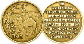 One Day At A Time Camel Prayer Bronze Medallion