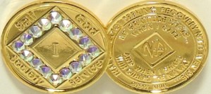 Narcotics Anonymous Gold Plated with Pink Swarovski Crystals Medallion1