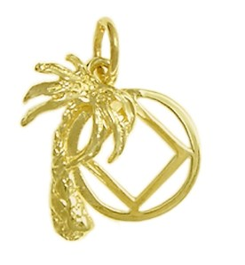 Narcotics Anonymous Symbol with Palm Tree Gold Charm 808-9