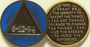 Alcoholics Anonymous Custom Dated Blue Medallion