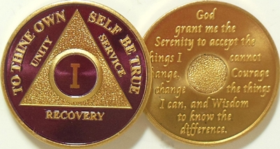 Blue Silver Plated 32 Year AA Chip Alcoholics Anonymous Medallion Coin