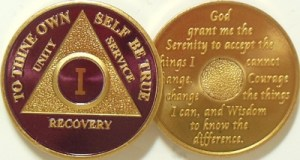 Alcoholics Anonymous Purple Gold Plated Medallion