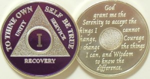 Alcoholics Anonymous Purple Silver Plated Medallion