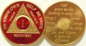 Alcoholics Anonymous Red Gold Plated Medallion