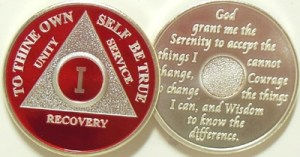 Alcoholics Anonymous Red Silver Plated Medallion
