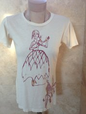 Red Lady & Peacock Feathers Destroyed Art Tee shirt
