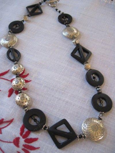 Tic Tac Toe Black Onyx Necklace