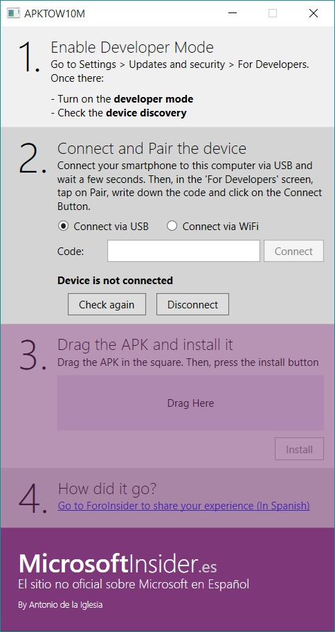 Installer un APK sur Windows 10