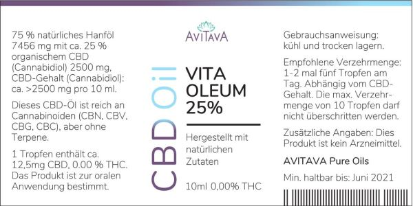 3 x Avitava Vita Oleum 25% CBD-Tropfen 2500 mg THC-freies CBD Öl